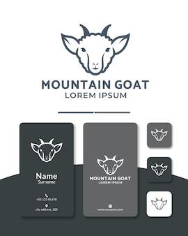 Création de logo de ligne de tête de chèvre