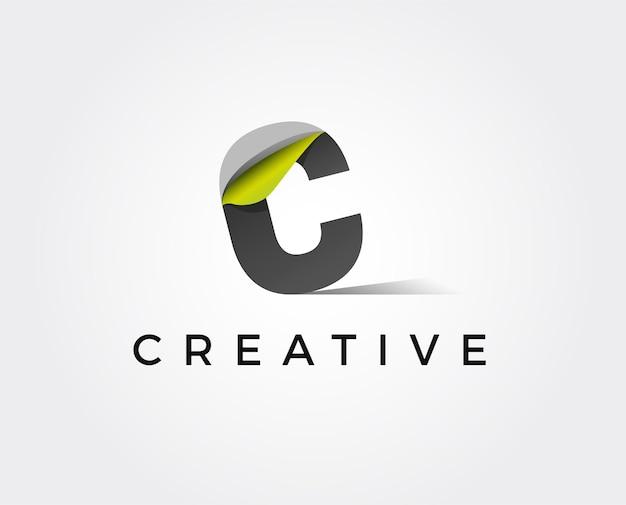 Création de logo de ligne de vecteur de lettre c. symbole d'icône logotype minimalisme créatif
