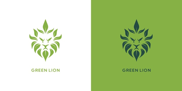 Création de logo de lion et de feuille vecteur premium