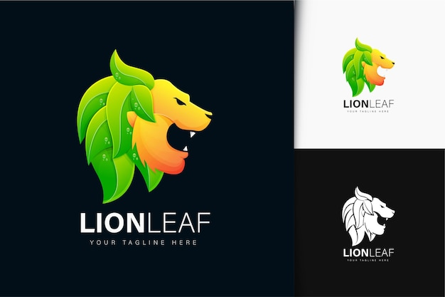 Création de logo de lion et de feuille