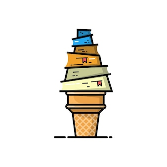 Création de logo de livre de crème glacée