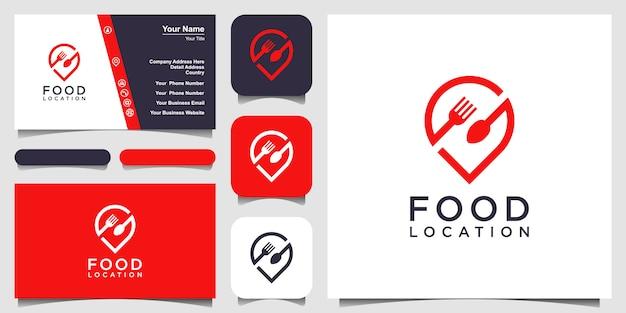Création de logo de localisation des aliments, avec le concept d'une icône de broche combinée avec une fourchette et une cuillère. conception de carte de visite