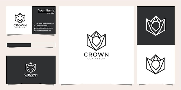 Création de logo de localisation de couronne avec style de ligne et carte de visite