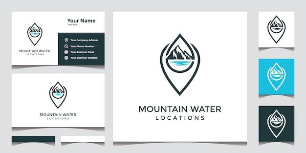 Création de logo de localisation de l'eau de montagne avec carte de visite élégante