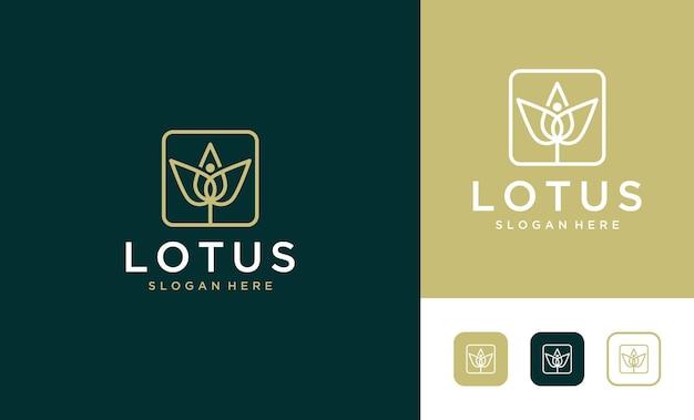 Création de logo de lotus art de ligne de luxe
