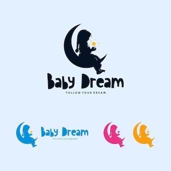 Création de logo de lune colorée et bébé rêvant