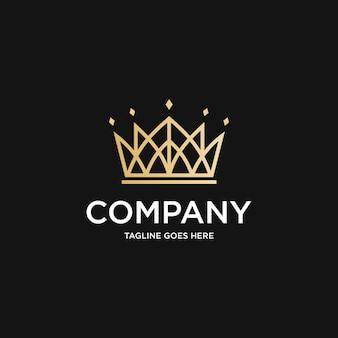 Création De Logo De Luxe Crown Building Vecteur Premium