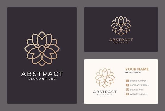 Création de logo de luxe fleur dorée abstraite avec modèle de carte de visite.