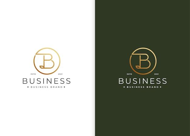 Création de logo de luxe lettre b minimaliste avec forme de cercle
