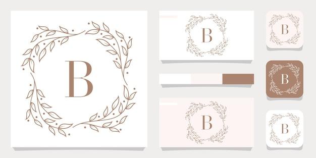Création de logo de luxe lettre b avec modèle de cadre floral, conception de carte de visite
