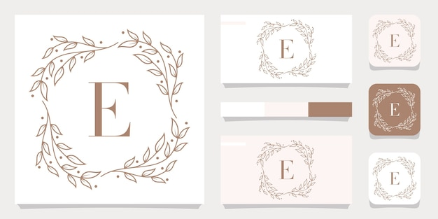 Création de logo de luxe lettre e avec modèle de cadre floral, conception de carte de visite