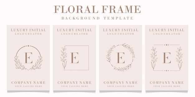 Création de logo de luxe lettre e avec modèle de fond de cadre floral