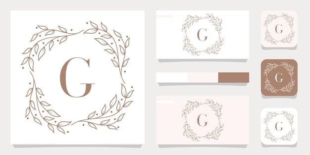 Création de logo de luxe lettre g avec modèle de cadre floral, conception de carte de visite