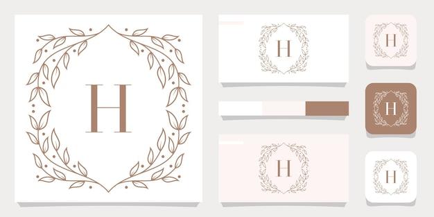 Création de logo de luxe lettre h avec modèle de cadre floral, conception de carte de visite