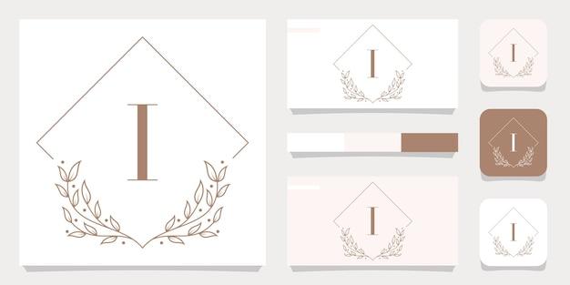 Création de logo de luxe lettre i avec modèle de cadre floral, conception de carte de visite