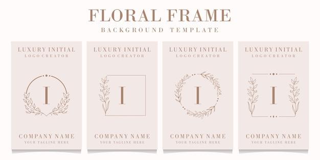 Création de logo de luxe lettre i avec modèle de fond de cadre floral