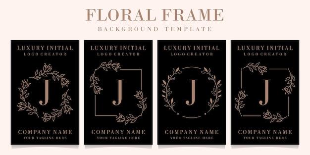 Création de logo de luxe lettre j avec modèle de fond de cadre floral
