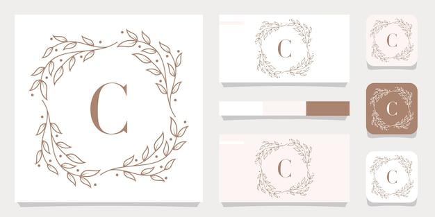 Création de logo de luxe lettre c avec modèle de cadre floral, conception de carte de visite