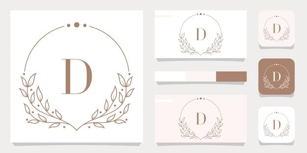 Création de logo de luxe lettre d avec modèle de cadre floral, conception de carte de visite