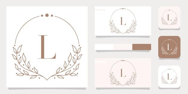 Création de logo de luxe lettre l avec modèle de cadre floral, conception de carte de visite