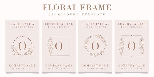 Création de logo de luxe lettre o avec modèle de cadre floral