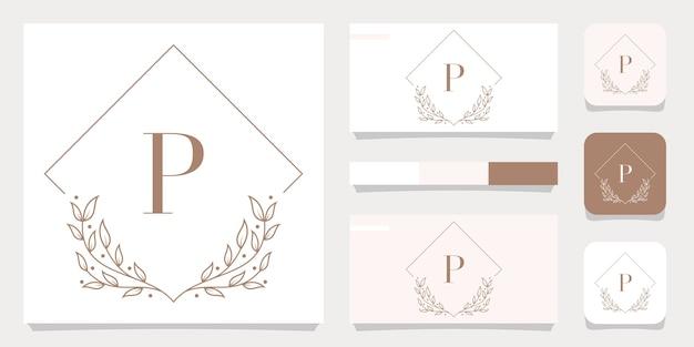 Création de logo de luxe lettre p avec modèle de cadre floral, conception de carte de visite