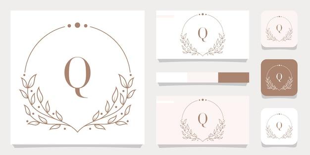 Création de logo de luxe lettre q avec modèle de cadre floral, conception de carte de visite