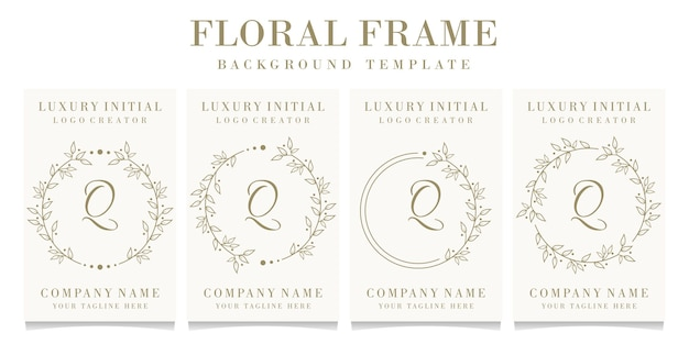 Création de logo de luxe lettre q avec modèle de fond de cadre floral