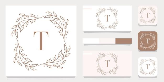 Création de logo de luxe lettre t avec modèle de cadre floral, conception de carte de visite