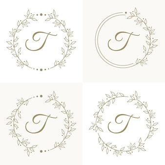Création de logo de luxe lettre t avec modèle de fond de cadre floral