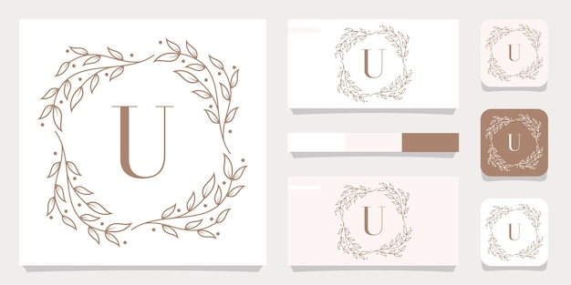 Création de logo de luxe lettre u avec modèle de cadre floral, conception de carte de visite