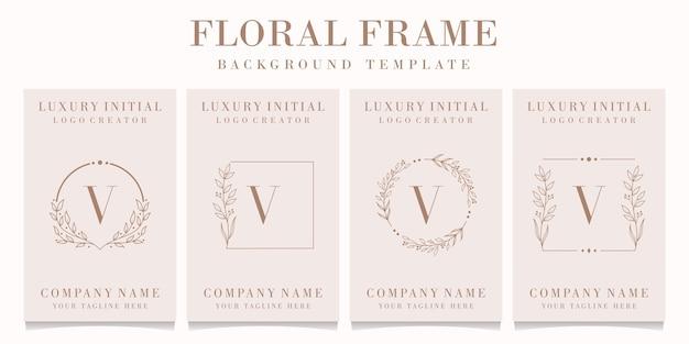 Création de logo de luxe lettre u avec modèle de cadre floral