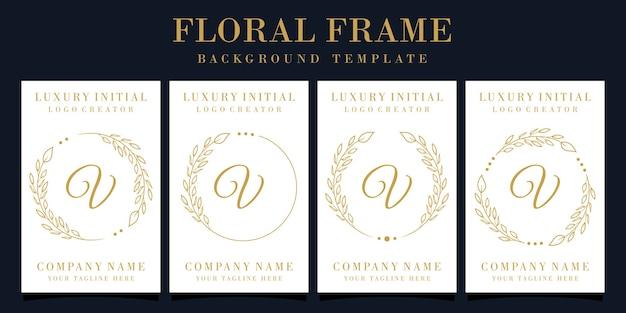 Création de logo de luxe lettre v avec cadre floral