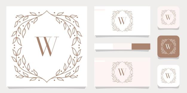 Création de logo de luxe lettre w avec modèle de cadre floral, conception de carte de visite