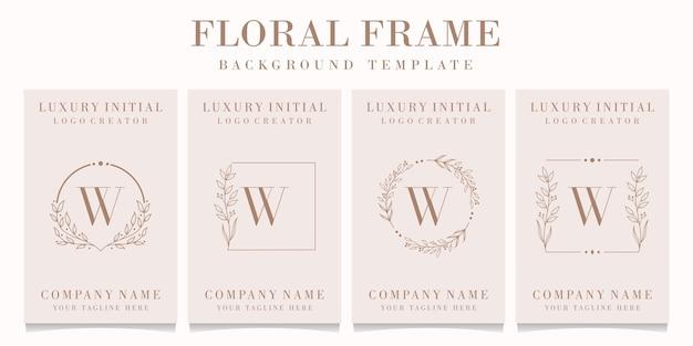 Création de logo de luxe lettre w avec modèle de cadre floral