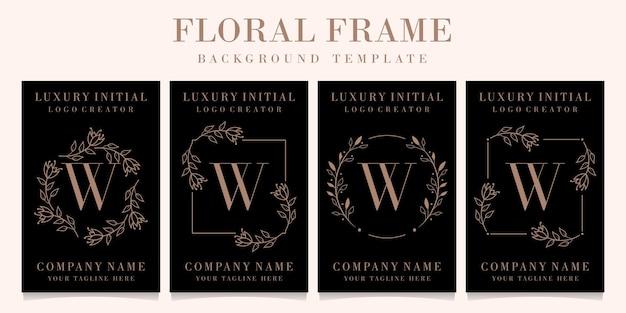 Création de logo de luxe lettre w avec modèle de fond de cadre floral