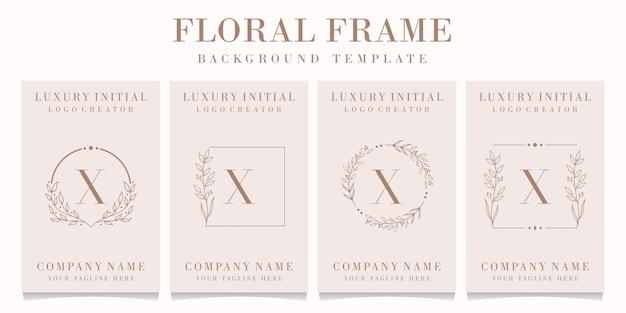 Création de logo de luxe lettre x avec modèle de cadre floral