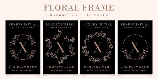 Création de logo de luxe lettre x avec modèle de fond de cadre floral