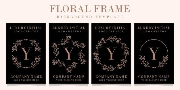 Création de logo de luxe lettre y avec modèle de fond de cadre floral
