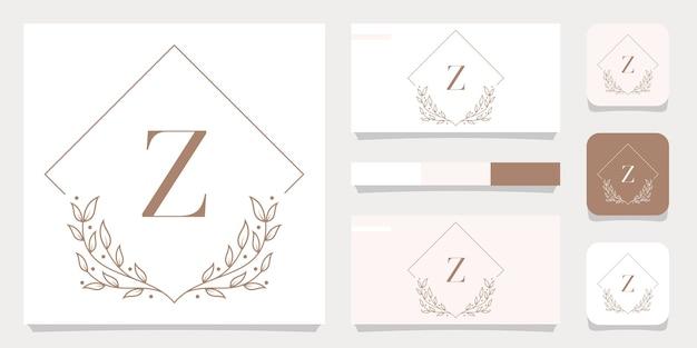 Création de logo de luxe lettre z avec modèle de cadre floral, conception de carte de visite