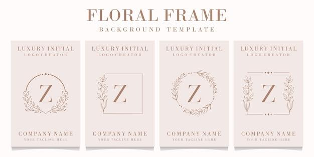 Création de logo de luxe lettre z avec modèle de cadre floral