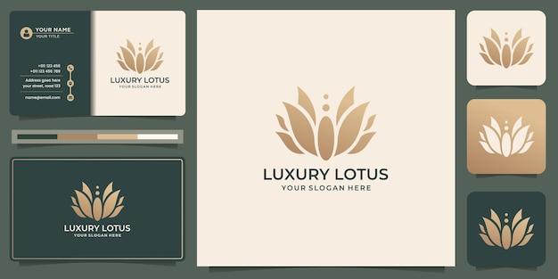 Création de logo de luxe rose lotus. concept de lotus fleur abstraite avec modèle de conception de carte de visite.