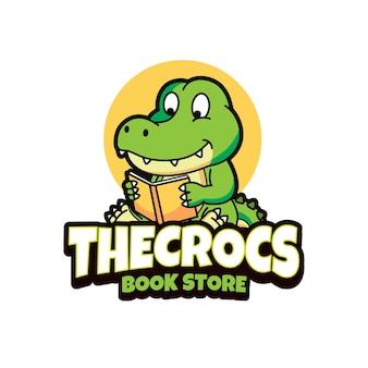 Création de logo de magasin de livre de crocodile