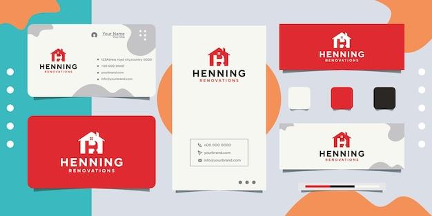 Création de logo de magasin de rénovation domiciliaire et carte de visite