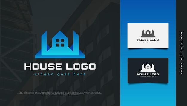 Création de logo de maison bleue futuriste. création de logo de construction, d'architecture ou de bâtiment
