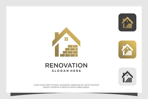 Création de logo de maison avec concept de rénovation vecteur premium