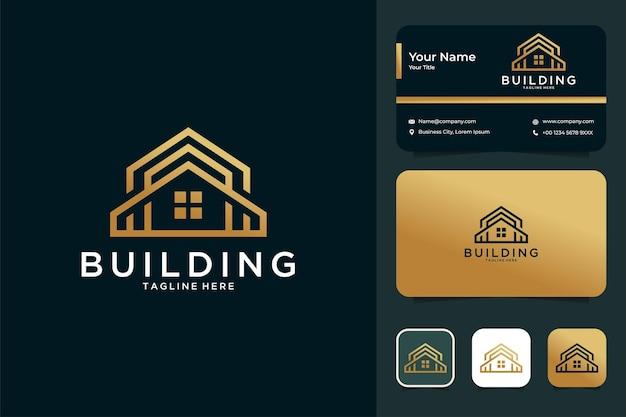 Création de logo de maison de construction de luxe et carte de visite