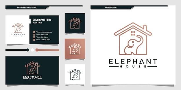 Création de logo de maison d'éléphant minimaliste avec un style de couleur dégradé moderne et une carte de visite premium vekto