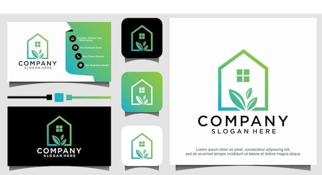 Création de logo de maison de feuille de maison verte inspiration