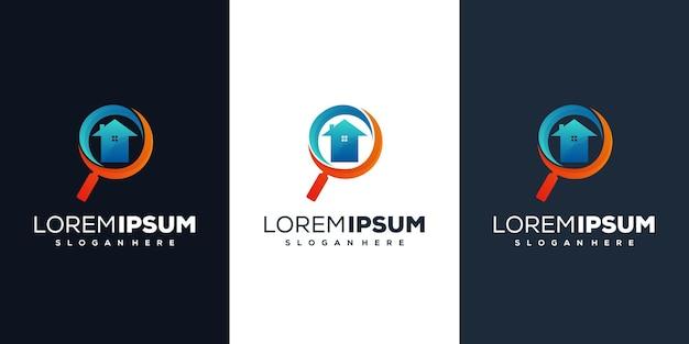 Création de logo de maison en forme de loupe